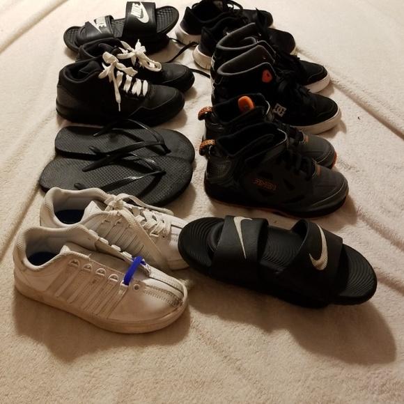 42b255645dc5 Boys shoes flip flops slides and tennis shoes. M 5ae6589d85e605e9afa10349